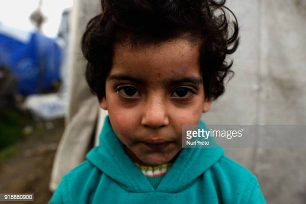 A syrian refugee child outside the Moria camp on the Greek island of Lesbos on 8th February 2018