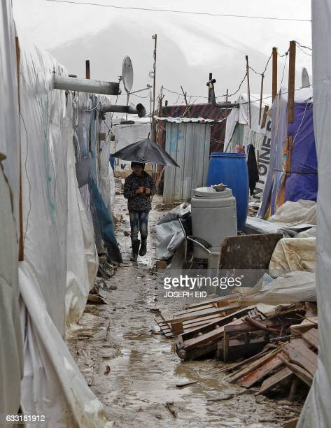 A Syrian refugee child walks in a muddy alley at an unofficial refugee camp in the village of Deir Zannoun in Lebanon's Bekaa valley on January 31...