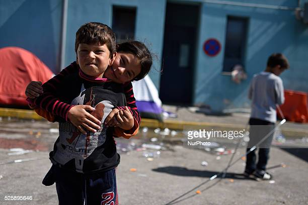Syrian refugee children are playing in Pireas Port Athens on April 28 2016 Some thousands of refugees are still located in Pireas Port Greek...