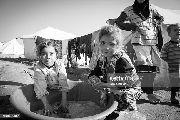 Syrian refugee children at displaced persons camp in Atmeh, Syria
