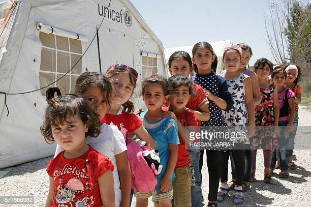 Syrian refugee children take part in activities organised at by the nonprofit organistion 'Beyond Association' in Saadnayel on July 16 2016 More than...
