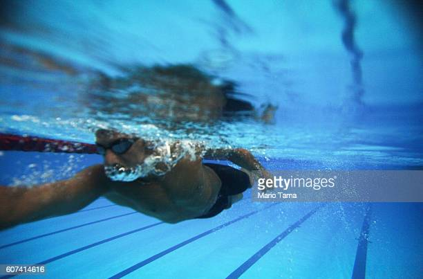 Syrian refugee Ibrahim Al Hussein swims during a practice session for media in a training pool during day 9 of the Rio 2016 Paralympic Games at...