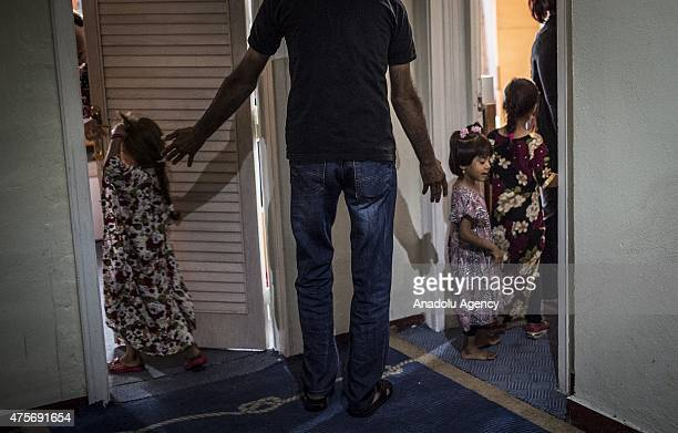 Syrian refugee kids are seen at a hotel in Gaziantep Turkey on June 02 2015 Some Syrian refugees who fled Syria due to the ongoing civil war stay in...