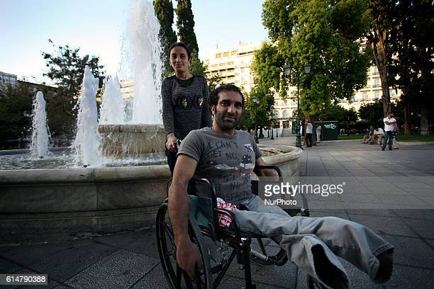Syrian refugee on a wheelchair is spending his last days in Athens, Greece, Oct 14, 2016. After arriving to Lesvos he travelled to the northern greek...