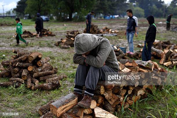 A Syrian refugee takes a rest as he sits on a pile of firewood in a firewood distribution point at Idomeni refugee camp on May 3'rd 2016 Humanitarian...
