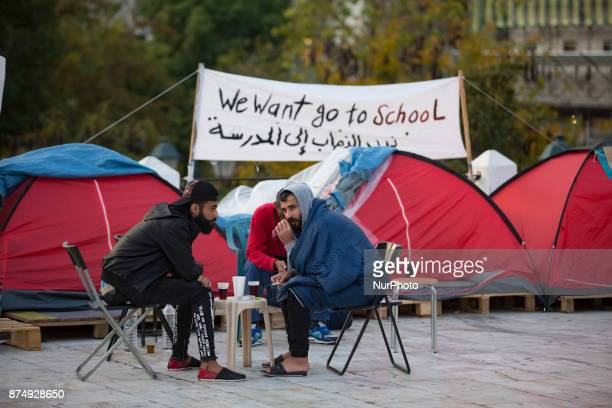 Syrian refugees are protesting for almost 2 weeks with a hunger strike and staying in tents in front of the Hellenic parlianment in Athens Greece on...