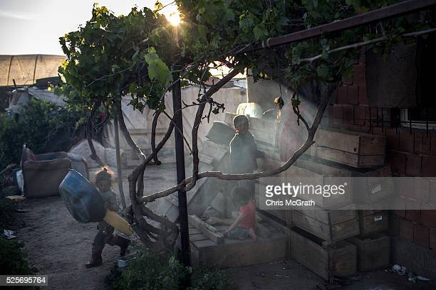 Syrian refugee's are seen playing at a tent camp on the outskirts of Izmir on April 28 2016 in Izmir Turkey For many Syrian refugees living in Turkey...