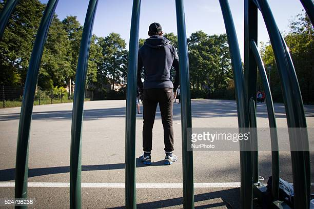 VOORSCHOTEN Syrian refugees are seen playing football On Friday night three buses with around 125 refugees arrived from the central processing center...