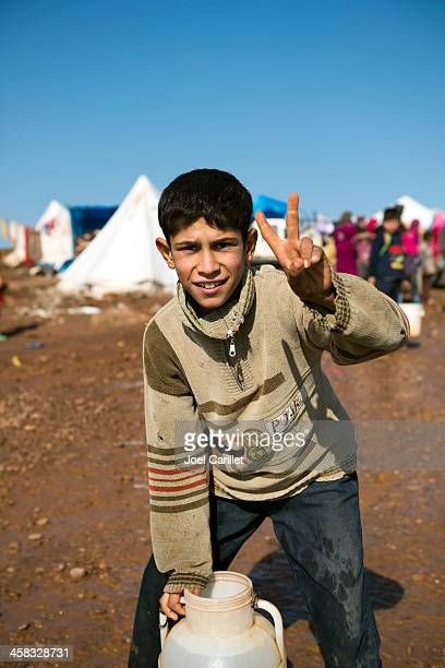 Syrian refugees at internally displaced persons camp in Atmeh