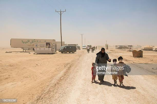 Syrian refugees at the UNHCR camp Zaatari outside the northern Jordanian city of Mafraq on August 13 2012 The camp was built on July 29 2012 Until...