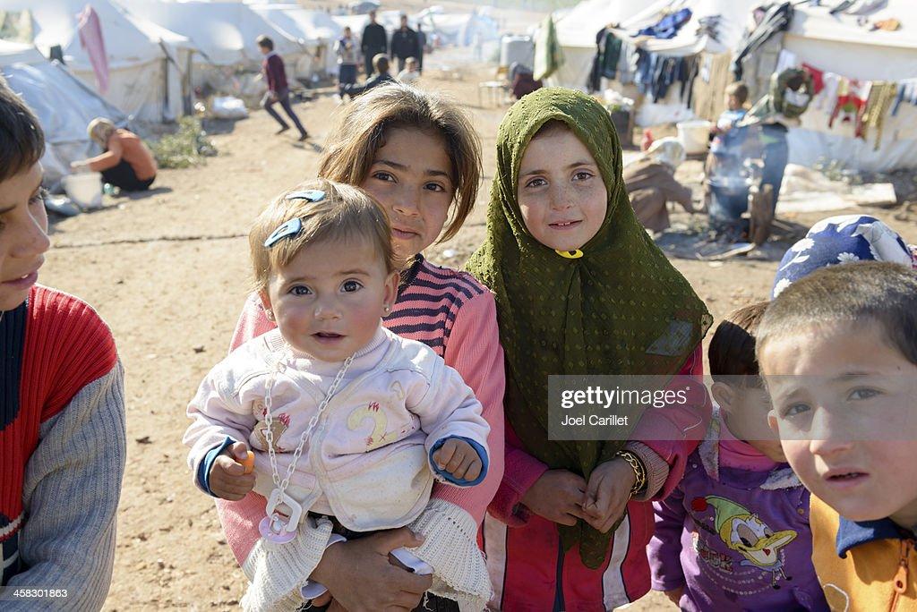 Syrian refugees inside Syria : Stock Photo