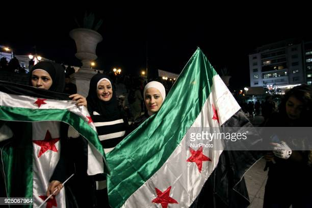 Syrian refugees living in Athens protest at Syntagma Square in Athens, Greece on February 27, 2018 for the victims in Ghouta in Syria.