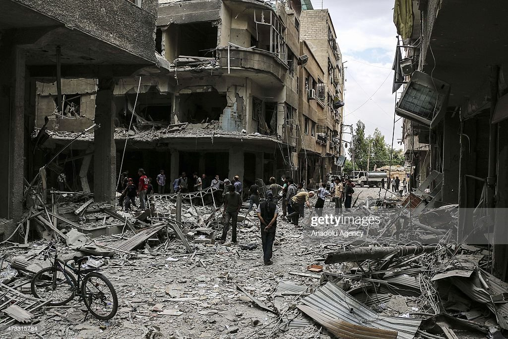 Syrian army carries out vacuum bomb attack in eastern Gouta : News Photo