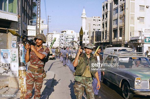 Syrian soldiers in south Beirut with rocketpropelled grenade launchers Syrian troops went to Lebanon to keep order between several warring factions...