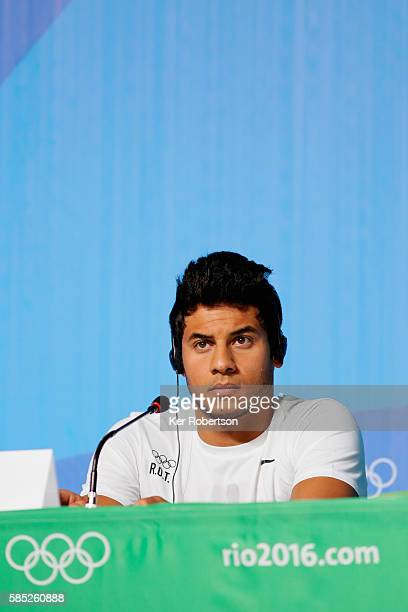 Syrian swimmer Rami Anis of the Refugee Olympic Team attends a press conference on August 2, 2016 in Rio de Janeiro, Brazil.