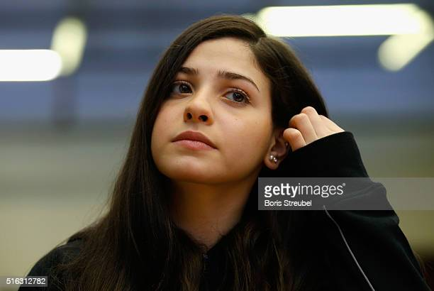 Syrian swimmer Yusra Mardini, a refugee athlete who now trains at German swimming club Wasserfreunde Spandau 04, attends a press conference at...