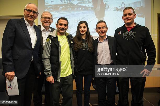 Syrian swimmer Yusra Mardini , her father Izzat , coach Sven Spannekrebs , Pere Miro of the International Olympic Committee ,President of the Berlin...