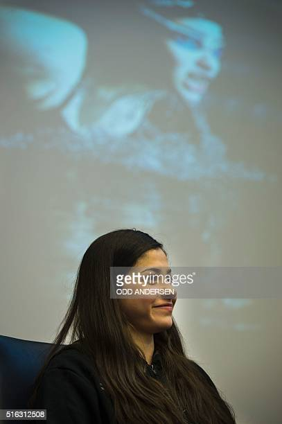 Syrian swimmer Yusra Mardini holds a press conference in Berlin on March 18, 2016. The Syrian refugee now living in Berlin aim to qualify of the...