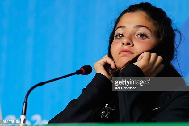 Syrian swimmer Yusra Mardini of the Refugee Olympic Team attends a press conference on August 2, 2016 in Rio de Janeiro, Brazil.