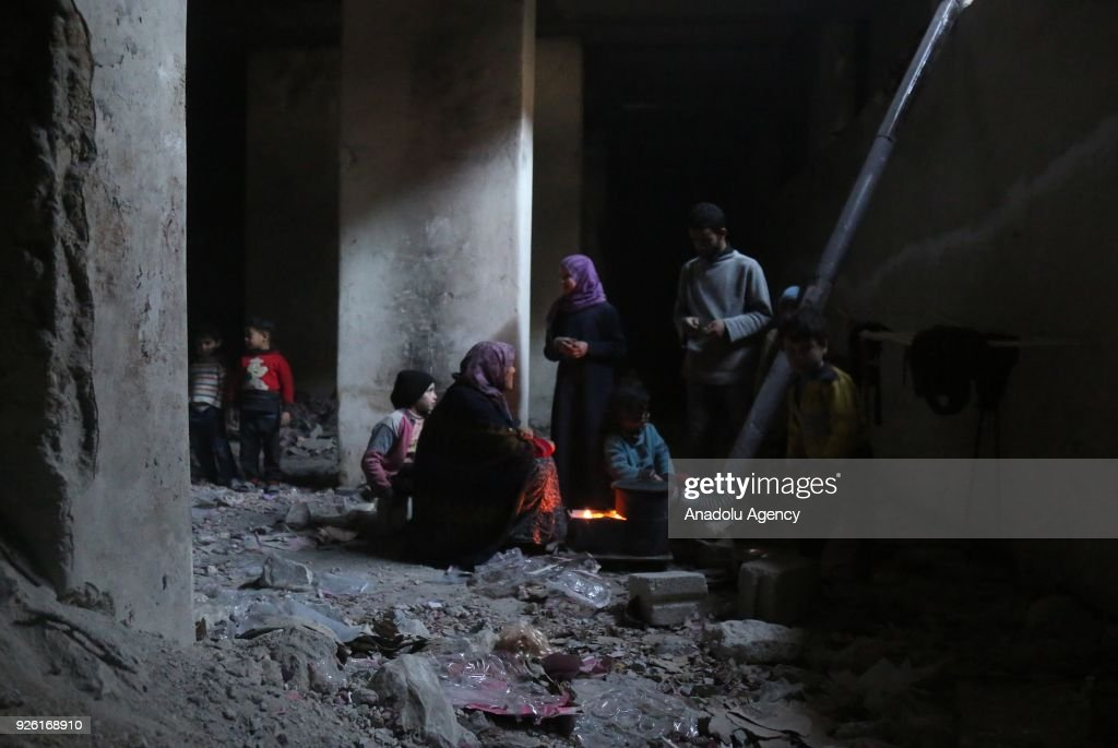 Syrians in Eastern Ghouta trapped in shelters : News Photo