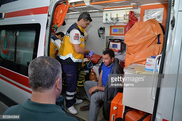Syrian Turkmens affected by Daesh terrorists' mustard gas attack are being hospitalized as their relatives accompany with them after they brought...
