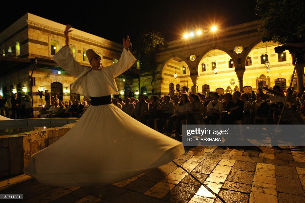 A Syrian whirling dervish dancer from th : News Photo
