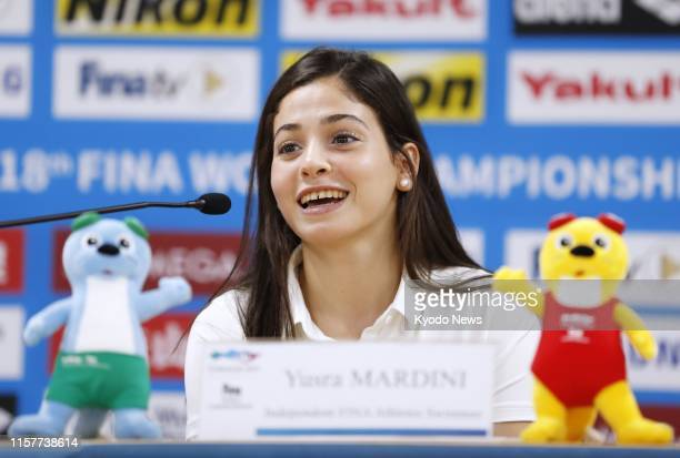 Syrian-born swimmer Yusra Mardini, who competed at the 2016 Rio de Janeiro Olympics as a member of the Refugee Olympic Team, attends a press...