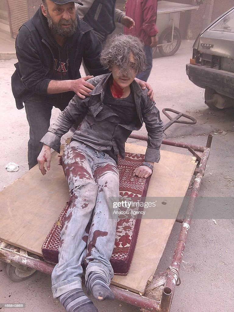Assad regime forces rocket attack to Yarmouk refugee camp in Damascus : News Photo