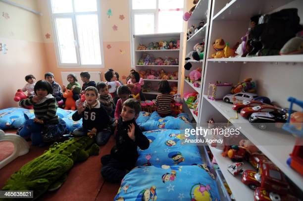Syrians fled to Turkey due to the Syrian civil war are hosted in Nizip container city official name of the refugee camp on January 28 2014 in...