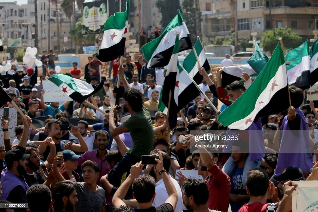 Protest in Idlib against Assad Regime and Russia's airstrikes : News Photo