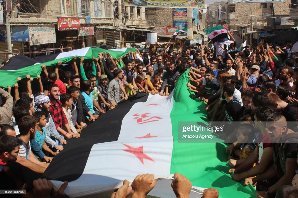 Anti-regime protest in Idlib : News Photo
