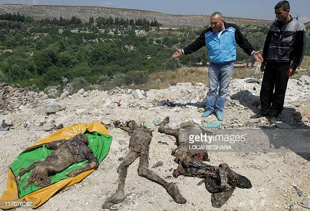 Syrians gesture next to bodies which the government said were found at a mass grave in Jisr alShughur 325 kms northwest of Damascus on June 15 2011...