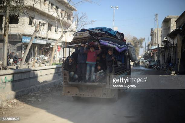 Syrians who have returned to their home after the Al Bab town center has been entirely freed from Daesh terrorists as part of the Operation Euphrates...