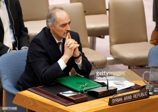 Syria's Ambassador to the UN Bashar alJa'fari before a vote on a resolution on Syria in the United Nations Security Council during a meeting on Syria...