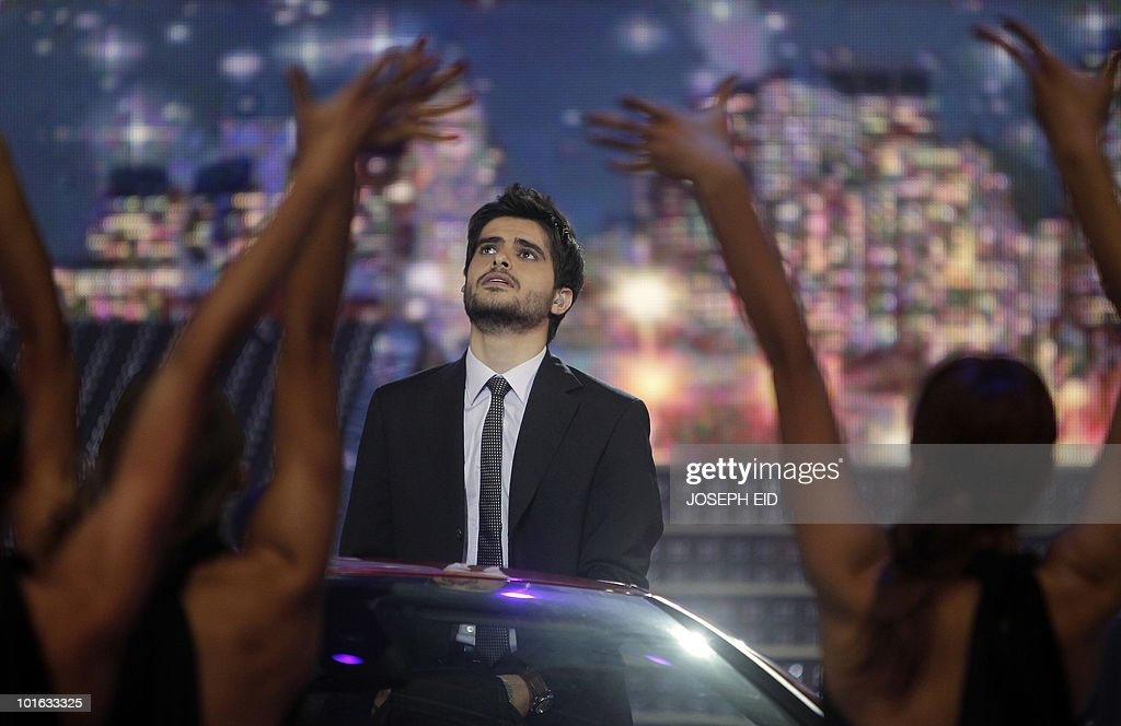 Syria's Nassif al-Zeitoun performs during Star Academy final show, a highly successful pan-Arab television show produced by Lebanese Broadcasting Corporation International (LBCI), at its studios in Adma, north of Beirut, late on June 4, 2010.