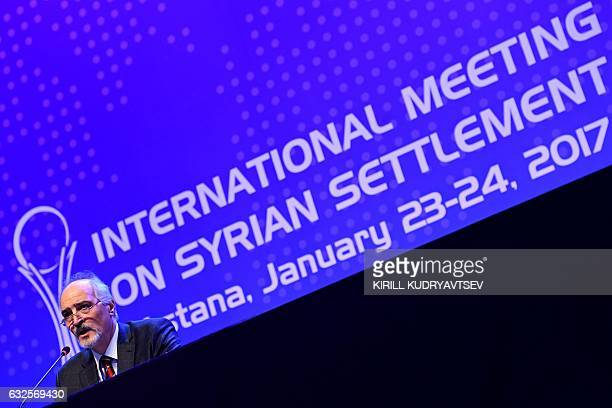 Syria's UN ambassador and head of the government delegation Bashar alJaafari gives a press conference following Syria peace talks in Astana on...