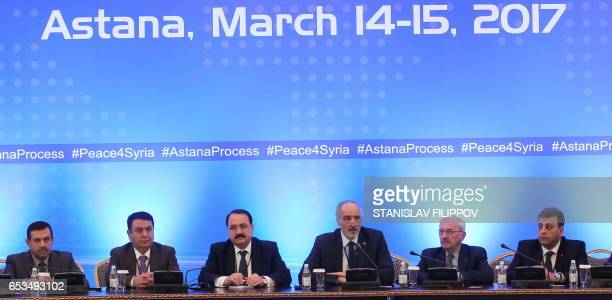 Syria's UN ambassador and head of the government delegation Bashar alJaafari Syrian ambassador to Russia Riad Haddad and other delegates attend the...