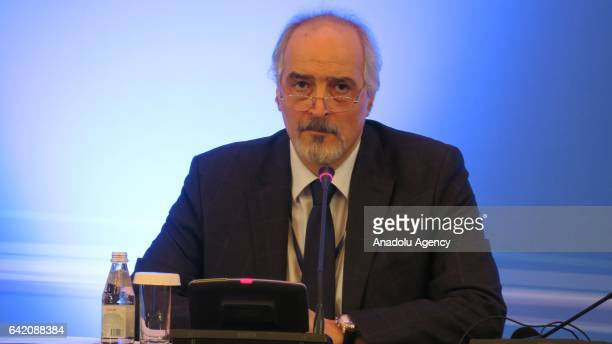Syrias United Nations Ambassador Bashar alJaafari speaks during the third session of Syria peace talks in Astana Kazakhstan on February 16 2017...