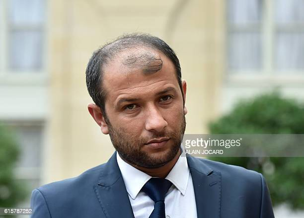 Syria's White Helmets leader Raed Saleh looks on after a meeting with France's President Francois Hollande at the Elysee Palace in Paris on October...