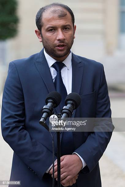 Syria's White Helmets leader Raed Saleh speaks to press members after the meeting with French President Francois Hollande and the President of the...