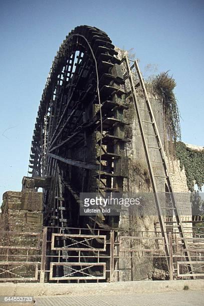 Syrien ca 1982 Historische Wasserrad Noria Wasserrad am Orontes Fluss