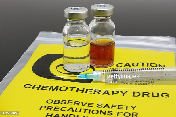 A syringe and two vials of chemotherapy drugs