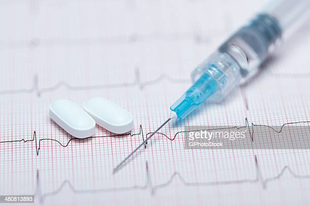 Syringe, pills and healthy electrocardiogram