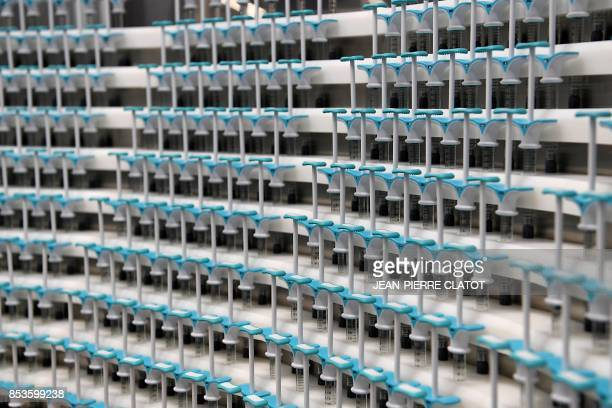 Syringes are pictured at Allergan's RD and global production site on September 25 2017 in Pringy Allergan is a global pharmaceutical company focused...