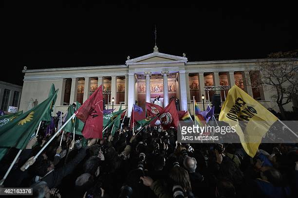 Syriza leader Alexis Tsipras greets supporters following victory in the election in Athens on January 25 2015 Greece is 'leaving behind disastrous...
