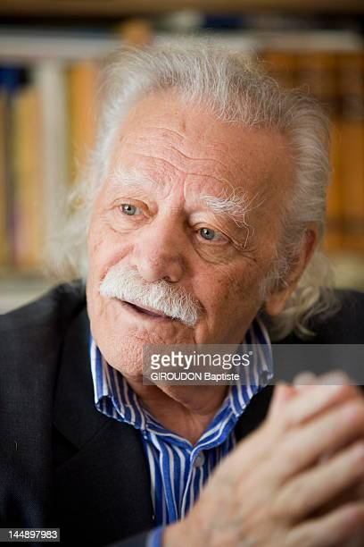 Syriza party member MP Manolis Glezos hero of the resistance against the Nazis speaks during an interview at his office on April 11 2012 in Athens...