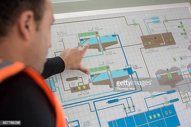 SCADA system an employee of a sewage treatment plant points on a blueprint on April 06 2016 in Madaba Jordan