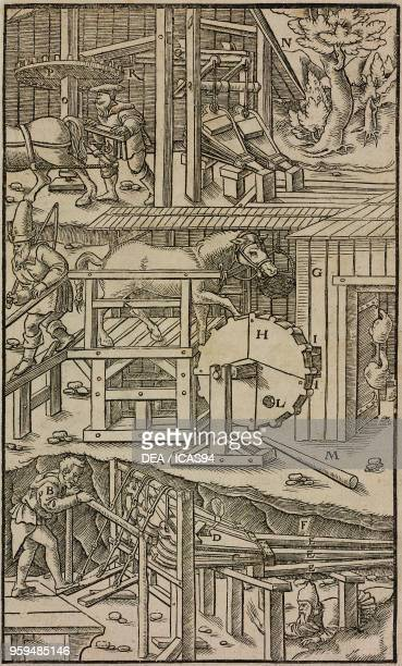 System of bellows and fans for extracting harmful gases and inflow of fresh air into mine tunnels engraving from De Re Metallica by Georg Agricola...