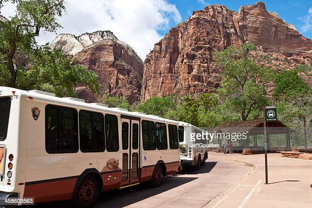 Park Visitors Wait to Board the Shuttle Buses
