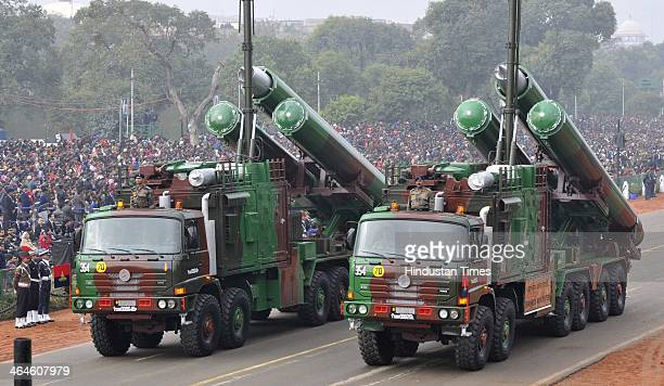 System of Indian Army passing through the saluting base during the full dress rehearsal for Republic Day Parade at Rajpath on January 23 2014 in New...